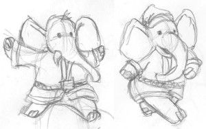 Elephant Santa sketches.